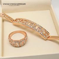 avustralyalı kristal bilezikler toptan satış-Marka Tasarım Gül Altın Renk Roma Stil Avusturyalı Crystal Ayar Kadın Takı Setleri Bilezik / Yüzük Toptan Mükemmel Hediye 18 krgp