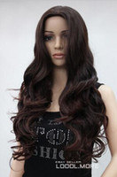 perucas castanhas escuras venda por atacado-Frete grátis ++++ Moda Dark Auburn Longo Ondulado Médio Parte Das Senhoras Das Mulheres peruca Diária