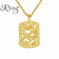 men dragon pendant 2018 - New Fashion Dragon Statement Necklace For Men Chain Jewelry Gold Color Stainless Steel Animal Necklaces & Pendants Jewelry 685