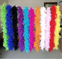 Wholesale red feather boas resale online - White Feather Boas Turkey Feather Boa Large Chandelle Marabou Feather Boa Wedding Ceremony Boas White Pink Orange Yellow Red Green