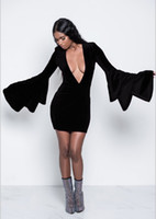 Wholesale dresses bell sleeves for sale - Group buy Women Sexy Deep V Dresses Fashion New Party Night Club Sexy Mini Dress Tiered Sleeve Dress