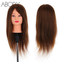 Wholesale training head human hair for sale - Group buy 24 quot Real Human Hair Mannequin Head Clamp Salon Hair Cutting Braiding Practice Hairdressing Training Head Dummy Tools