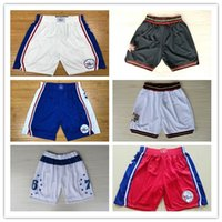 shorts de filadélfia venda por atacado-2018 VENDA QUENTE Nova Temporada Autêntico 76 Correndo Basquete Jersey Shorts estado de Filadélfia e juventude 76er Curto Jerseys