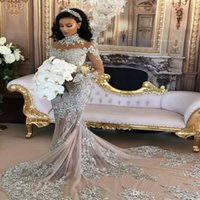 Wholesale tulle ruffled chapel train wedding dresses resale online - Sparkly Sexy Wedding Dress Sheer Bling Beaded Lace Applique High Neck Illusion Long Sleeve Champagne Mermaid Chapel Bridal Gowns