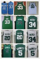 Wholesale bird shirt mens - NCAA Mens 5 Kevin Garnett jersey 20# Ray Allen 34# Paul Pierce 33# Larry Bird embroidery Jerseys Green White basketball jersey Wear Shirts