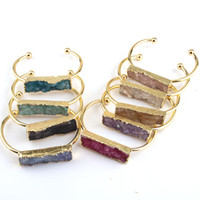 ingrosso lunghi i braccialetti del polsino-Braccialetto di fascino di Druzy di pietra naturale del partito lungo di modo libero di trasporto per i braccialetti dei braccialetti delle donne