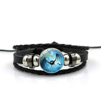 auge gewebtes armband großhandel-Neue Mode Kunst Märchen Armband Glas Versteckte Cat Eye Hexe Fairy Schwarz Leder Armband Weben Schmuck Halloween Geschenk