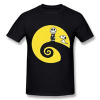 хэллоуин оптовых-Горячая 2018 Летняя мода новые Письмо печати шею с коротким рукавом Tee Times мужчины Чарли Браун Хэллоуин Черная Луна футболка