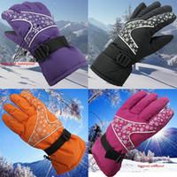 guantes amarillos de esqui al por mayor-Invierno a prueba de viento a prueba de viento Guantes de esquí para mujer Mantener caliente antideslizante Guantes de snowboard Púrpura Negro Rojo Amarillo