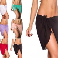 mayo etek örtüsü toptan satış-6 Renkler Seksi Mayo Kadınlar Plaj Etek Düz Renk Şifon Cover Up Bikini Wrap Mayo Mayo 7 5yh W