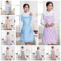 Wholesale floral aprons resale online - 15 Styles Floral Printed Apron Dot Plaid With Pockets Women Home Kitchen Cooking Apron HOT NNA493
