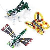 Wholesale Butterflies Dragonflies - 3D Assembly Metal Engineering Vehicles Model Kits Toy Animal Butterfly Dragonfly Grasshopper Building Construction Play Set