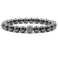 Wholesale magnetic round clasp - Hematite Magnetic Bracelets 8mm Natural Stone Cubic Zirconia Round Ball Bracelets & Bangles For Women & Men Bracelets Gift
