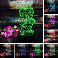 Wholesale iron man night light resale online - 2018 Cool Superhero Iron Man Action Figure D Creative LED Colorful Gradient Switch USB Touch Remote Control Night Light Child Kids Gift
