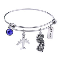 Wholesale sterling silver charms wholesale usa - new jewelry Simple Design Geography bracelet 1PCS Outline NEW JERSEY State bracelet American Map Jewelry Charm USA Bangles gifts for kids