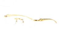 gümüş france toptan satış-Fransa marka altın gümüş çerçevesiz çerçeveleri leopar buffalo gözlük şeffaf siyah kahverengi lensler erkekler kadınlar için Vintage güneş gözlüğü gözlük