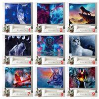 kedi odası dekor toptan satış-Fantasy Dekor Goblen Kurt Ay Yıldız Kedi Köpek Kuş Köpek Evren Galaxy Aslan Duvar Asılı Yatak Odası Oturma Odası için Yurt 51X59 Inç Duvar B