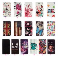 Wholesale apple 6s usa for sale - Group buy UK USA Flag Leather Wallet Case Galaxy S9 For Iphone XS MAX XR X S Eiffel Tower Bear PU Flower Butterfly Flip Cover Owl Pouch
