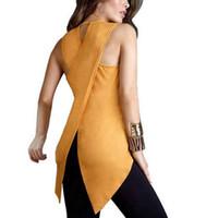 blusa amarela sem mangas venda por atacado-Moda Chiffon Amarelo Irregular Blusa Verão Mulheres Tops Camisa Sexy Assimetria Oco Out Moda Solto Mujer Blusas Sem Mangas