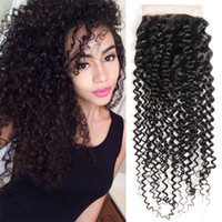 Wholesale brazilian girls curly hair for sale - Peruvian Curly Hair Closure Free Three Middle Part Peruvian Virgin Kinky Curly Hair Closure Human Hair Closure Natural Color SASSY GIRL