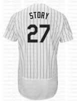 venta al por mayor al por mayor-27 Trevor Story Baseball Jerseys Bordados Logos 100% cosido fresco base jersey venta al por mayor barato