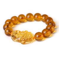 14мм кристалл бисер оптовых-2018 New Arrival Wholesale PrFeng Shui Yellow Crystal Pi Xiu Xie Bracelet For Wealth 14mm Pi Yao Bracelet Yellow