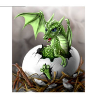 Wholesale Needlework Pictures - Green Dragon Egg New Cross Stitch 5D DIY Dog Square Picture Full Diamond Painting Needlework Embroidery Round Rhinestone