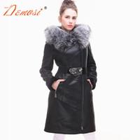Wholesale sheepskin fox fur coat - Wholesale-2017-18 Brand New Women Winter Coat Fashion Sheepskin Faux Fox Fur Collar Slim Hooded Thickened Plus size Suede Fur Coat