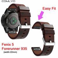 кожаный ремешок для часов 22 мм оптовых-COMLYO 22mm width Easy Fit Genuine Leather Strap For Garmin Fenix 5 / Forerunner 935 Band Watch wristband bracelet Watchband