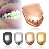 Wholesale 4 Color Hiphop Gold Silver Plated Single Tooth Cap Rap Singer Fashion Jewelry Braces Grillz