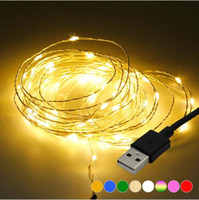 Wholesale usb warmer mouse resale online - 5M ft LEDs LED String lights USB Operated Copper Silver Wire Fairy Garland String Light for New Year Wedding Christmas Decoration