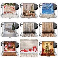 Wholesale printing photo wood wholesale for sale - Christmas tree vinyl Wood Floor Photography Backdrop Studio Photo Props Background Home Decor Wallpapers for new year