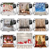 neue hintergrundtapeten großhandel-Weihnachtsbaum Vinyl Holzboden Fotografie Hintergrund Studio Foto Requisiten Hintergrund Home Decor Wallpapers für das neue Jahr