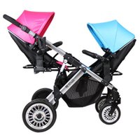Wholesale two way stroller - Boy and girl Twin Stroller Two Way Baby Stroller Light And Foldable Baby Umbrella carts Can Sit lie trolley brand pram