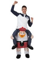 Wholesale stag costumes online - 2017 plaids man Stuffed Ride On Me Stag Mascot Carry Piggy Back Fancy Dress Costume