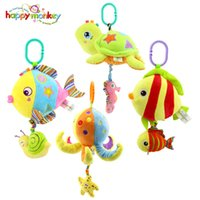 Wholesale Musical Baby Doll - Happy Monkey Marine Animals Melody Pure Musical Rope Pull String Baby Rattle Soft Plush Ring Bell Doll Baby Bed Crib Hanging Toy