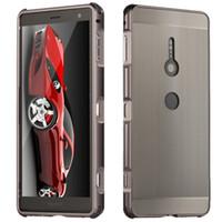 xperia difícil venda por atacado-1 pcs À Prova de Choque 2 em 1 Destacável Metal Frame Bumper Escovado Caso Difícil Para Sony Xperia XZ2