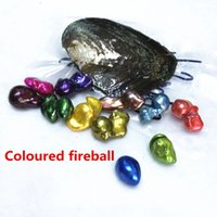 Wholesale Individual Gifts - Free Shipping AAA Freshwater colourful Flame Ball Fireball Pearl Oyster 12-20mm Big Baroque Individual Packing For Party gift