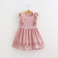 Wholesale Long Sleeve Girls Frock - 2018 Summer Baby Girls Birthday Party Dress Toddler Baby Cotton Frock Design Pink Dress 2-6Years Old Kids Clothes