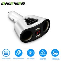 Wholesale usb cigarette adaptor - Onever 3.1A Dual USB Car Charger Adaptor With Voltage Current Display Charger Car Cup Holder 2 Sockets Cigarette Lighter