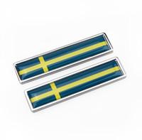 metal etiketler etiketler toptan satış-Araba Styling Taraf sticker İsveç Bayrağı Yeni Çift Metal Etiket 3D Araba Çıkartmaları Oto Metal Amblem İsveç bayrağı