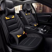 capas de assentos de carros de luxo venda por atacado-Luxo Tampa de Assento Do Carro de Couro PU FrontRear Tampas de Assento Do Automóvel Conjunto Completo Acessórios Interiores Universais Para Pequeno Monstro