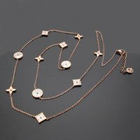 Wholesale rose pearls price for sale - Group buy 2018 Factory price L Titanium steel Brand name necklace with eleven shell flower in cm length for women and girl friend gift free shipp