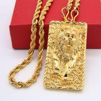 grandes cadenas para hombre al por mayor-Gran León Patrón Colgante Collar de Cadena de Cuerda 18k Oro Amarillo Lleno Sólido Joyería Para Hombre Estilo Hip Hop