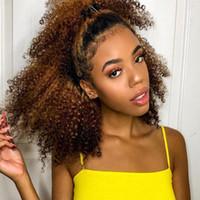 монгольские кудрявые вьющиеся волосы оптовых-Клип в человеческих волос расширения 4B 4C монгольский афро кудрявый вьющиеся клип Ins Реми человеческих волос полная голова 8 шт. / компл. Rainbowqueen волос Продукты