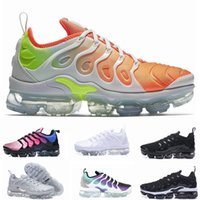 Wholesale 12 plus - 2018 Vapormax TN Plus Olive Mens Sports Running Shoes Sneakers Metallic White Silver Colorful For Male Shoe Pack Triple Black US7-12