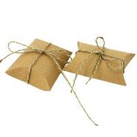 baby süßigkeiten schachtel geschenk groihandel-50 Stücke Kreative Kraftpapier Pralinenschachtel Geschenkbox Mit Hanfseil Hochzeit Baby Shower Versorgung