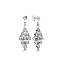 Wholesale Chandelier Logo - Crystal Diamond Angel Tears Drop EARRING Pandora Charms style Earrings for Women Fashion Wedding Jewelry with Logo and Original packing sets