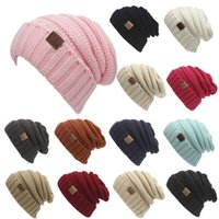 Wholesale Hat Folding - 17 Colors Unisex CC Trendy Hats Winter Knitted Beanie Label Winter Knitted Wool Cap Unisex Folds Casual CC Beanies Hat Solid Hat