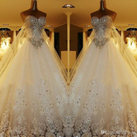 Ball Gown Wedding Dress online - 2018 Luxury Ball Gown Wedding Dresses Sweetheart Crystal Beaded Tulle Backless Plus Size Wedding Gowns Cathedral Train Lace Up Back